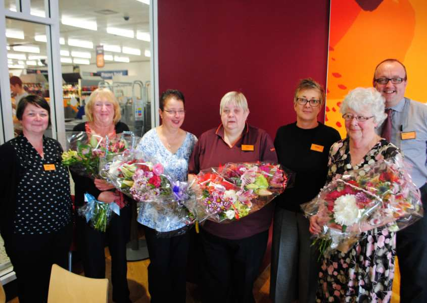 Marking 25 years at Sainsbury's and Safeway. From left are HR manager Stephanie Keightley, long service employees Collette Miller, Jill Lidierth, and Jayne Hill, store manager Debbie Wrightson, long service employee Sylvia Pine and deputy store manager Steve Skinner.