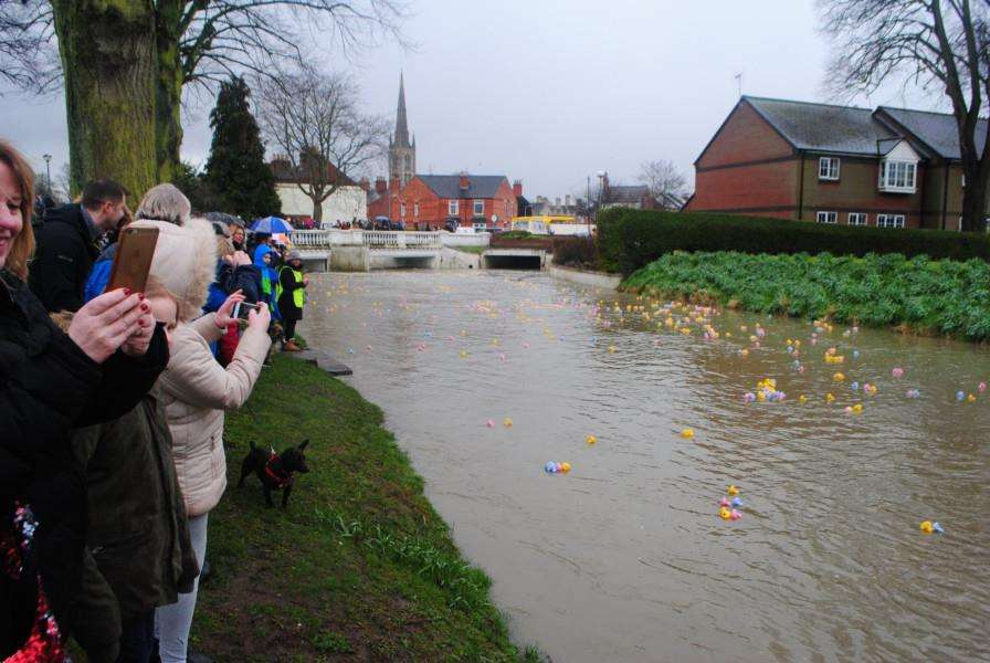 The duck race on Easter Saturday was a good photo opportunity for spectators in Wyndham park.