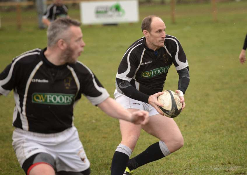 On the ball is Martyn Parker who kicked three conversions successfully. Photo: Toby Roberts
