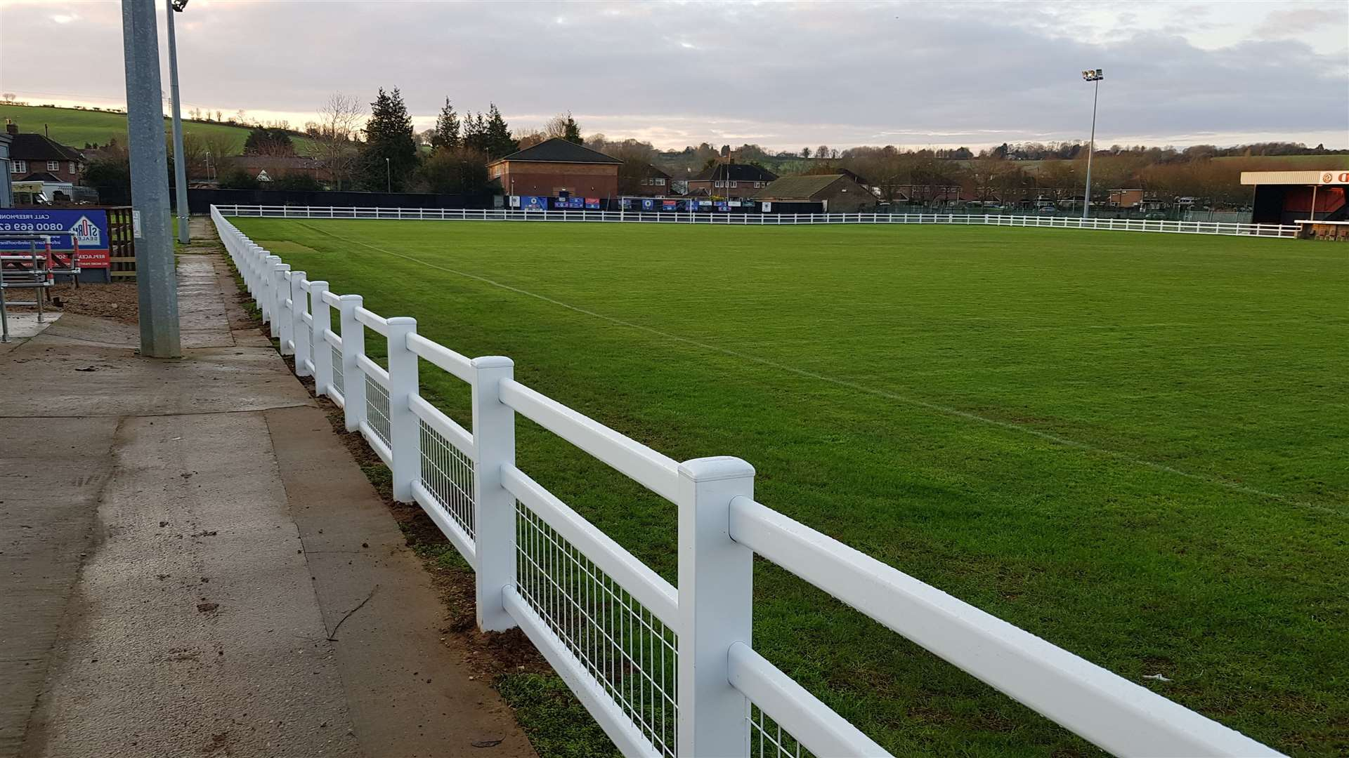 The new pitchside fencing at Harrowby. (43943362)