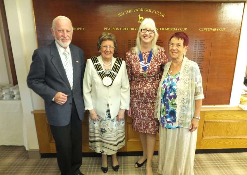 Grantham Twinning Association hosts its German guests from Sankt Augustin at Belton Park Golf Club. From left are Dr Werner, Grantham chairman Linda Wootten, Mayor of Grantham Jacky Smith and German association chairman Brigitte Schmidt.