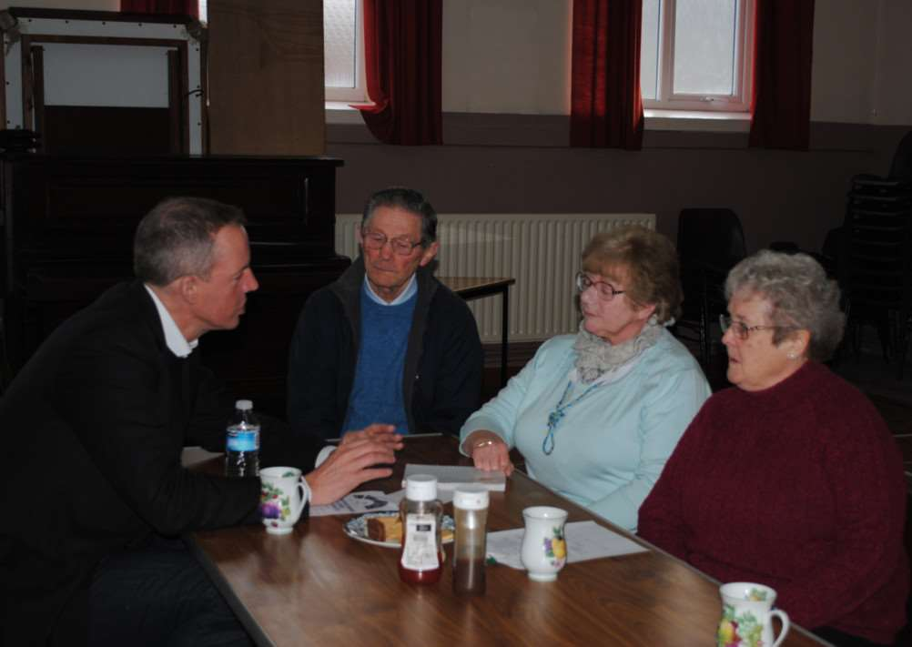 Nick Boles speaks to Mike Monaghan, Brenda Snowball and Ruby Stuckey.