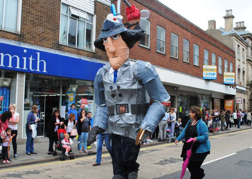 Inspector Gadget makes an appearance in the Grantham Carnival Parade.