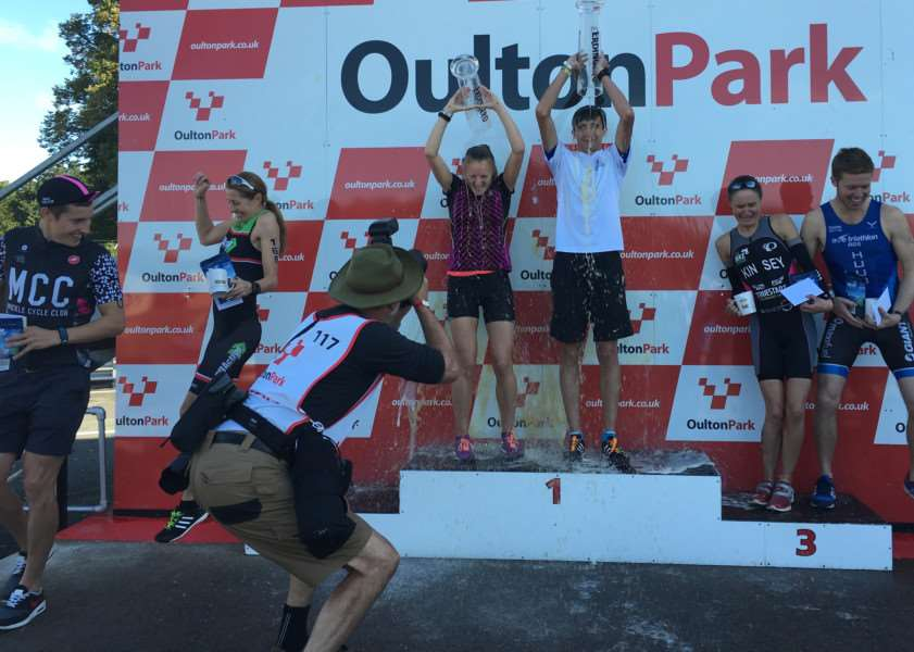Champagne moment: Naomi Collier tops the podium at Oulton Park.