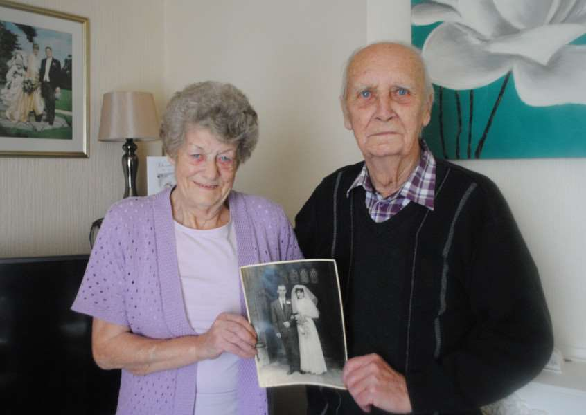 Janet and Alan Roe at their home in Belton Avenue and the picture of their big day at St Wulfram's Church on November 30, 1957.