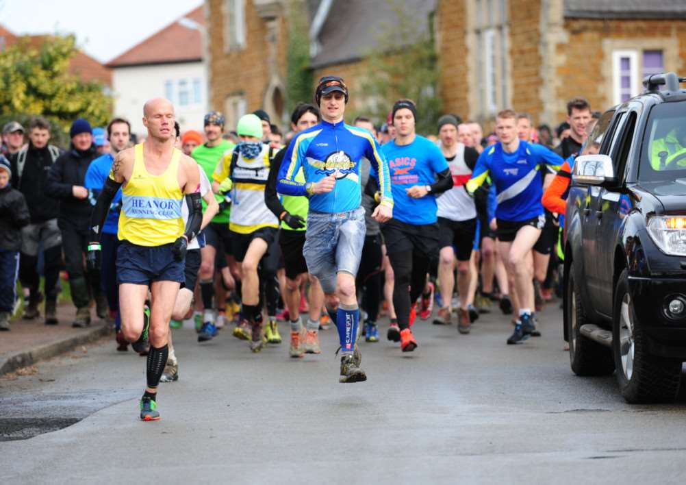 Hundreds of runners and walkers set off from Harby on Saturday. Photo: Toby Roberts