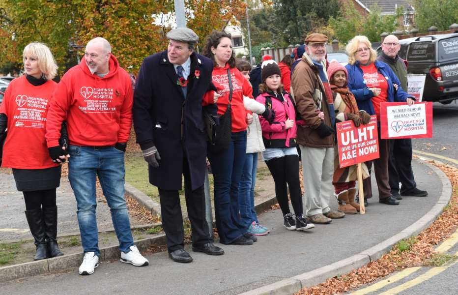 The 'Holding Hands' protest outside Grantham Hospital.