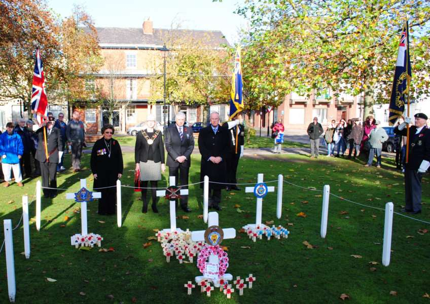 The two minutes' silence was observed on Armistice Day in St Peter's Hill by Grantham dignitaries including the Mayor of Grantham, Coun Linda Wootten, her husband Coun Ray Wootten, Coun Jacky Smith, vice-chairman of South Kesteven District Council, and Coun Nick Craft, deputy leader of South Kesteven District Council.
