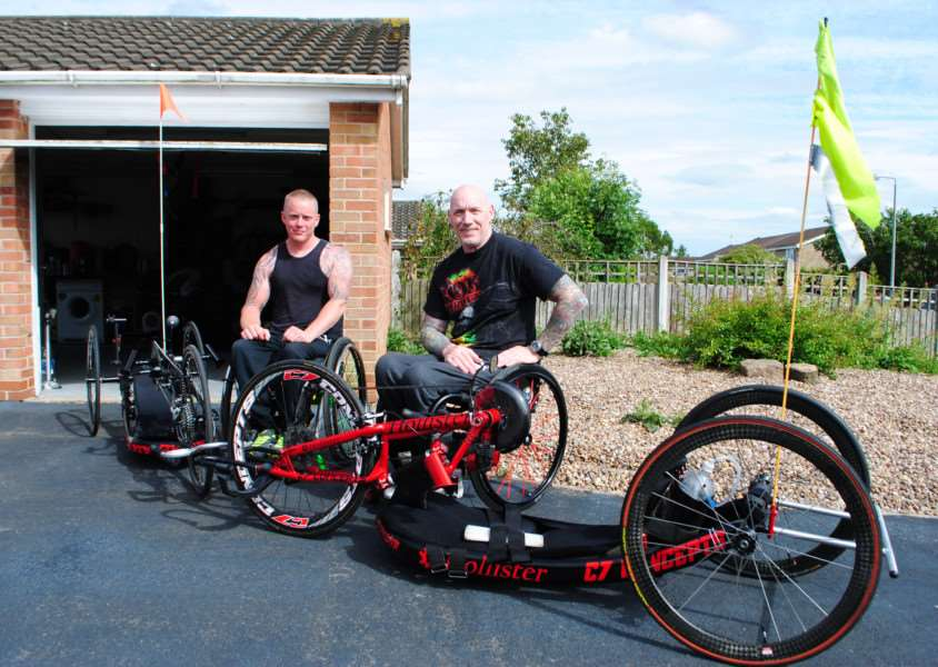 Dan Metcalfe-Hall and Kenny Herriot with their handcycles.
