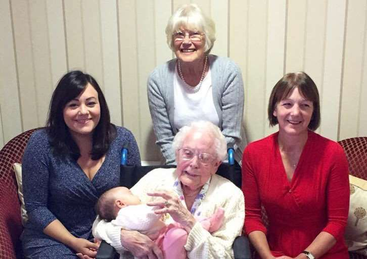 Five generations of women in the same family - clockwise from left, Ruth Toole, Ann Fox, Faith Ballaam and seated, 97-year-old Irene Miller holding baby Phoebe Toole, aged just six weeks at the time of the photo.
