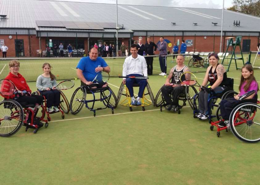 Tim Henman with some GTC wheelchair players.