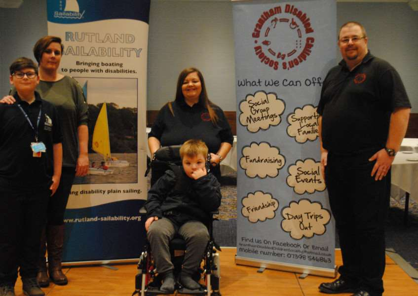 From left, Marie Pears from Rutland Sailability with son Logan and Sue and Darryl Blair from GDCS with son Ryan.