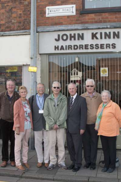 Pictured under the restored Wharf Road sign are, from left, John Pinchbeck, Barbara Manterfield, John Manterfield, Gordon Beech, Coun Nick Craft, Peter Reichelt and Betty Beech.