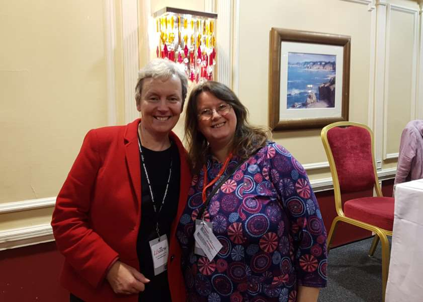 Coun Charmaine Morgan with MP Margaret Greenwood, left, at the Labour Party Conference in Brighton.
