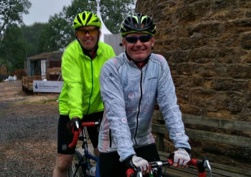 Grantham man Neil Baldwin, right, and former RAF colleague Mark Collins will ride tandem from London to Paris in aid of the Royal British Legion.