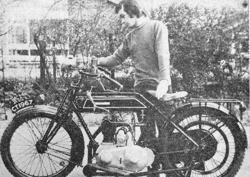David Williams and his Sunbeam motorcycle.