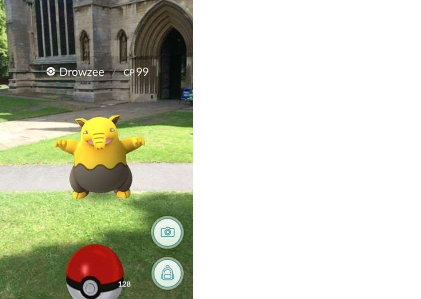 A Pokemon outside St Wulfram's Churh, Grantham