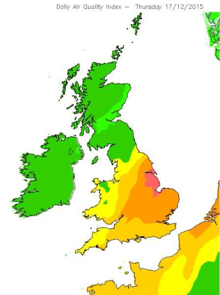 Large parts of the UK will face high air pollution tomorrow-Thursday