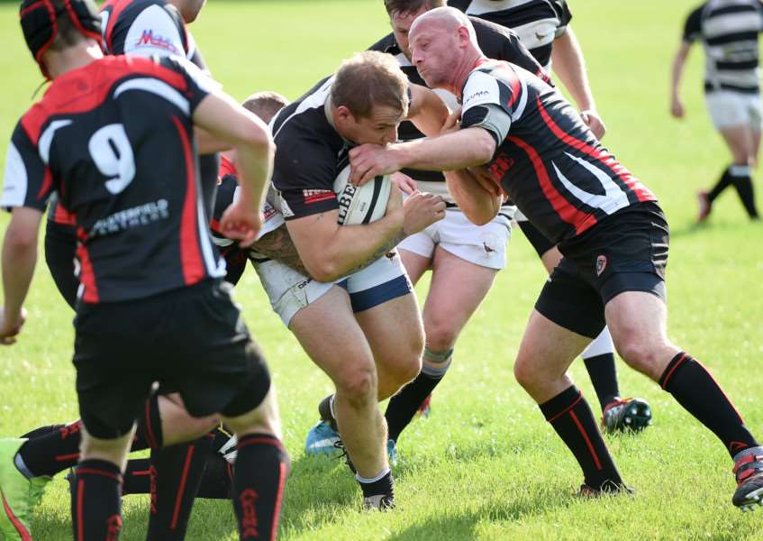 Kesteven's Tony Woolerton steamrollers his way through the Panthers. Photo: Toby Roberts