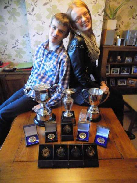 Robert and Jennifer McAndrew and their awards haul.