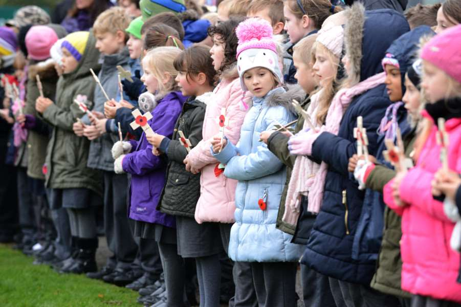 Children from St Anne's Primary School attend the Remembrance ceremony at Grantham Crematorium.