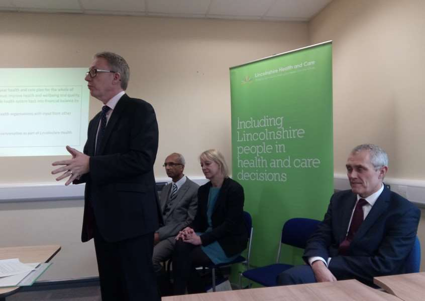 Andrew Morgan, Chief Executive of Lincolnshire Community Health Service, gives a presentation following the publication of the Lincolnshire Sustainability and Transformation Plan.