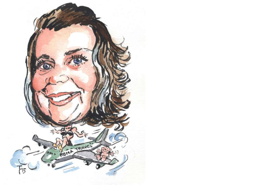Caricature of Natalie Kaye of Roma Travel, by Terry Shelbourne.
