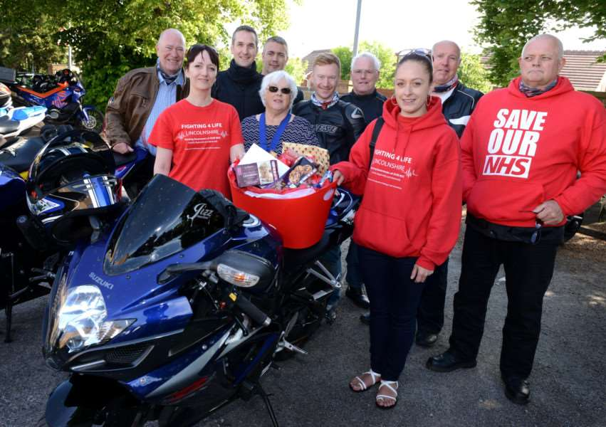 Deputy Mayor of Grantham Lynda Coutts meets bikers and members of Fighting 4 Life Lincolnshire at the Biker Run.