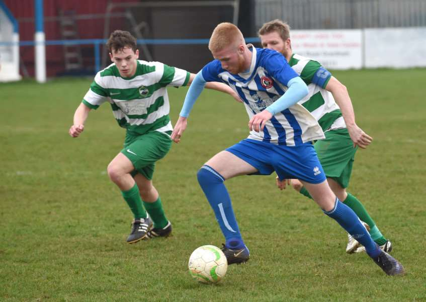 Action from Harrowby United's game against Newport Pagnell Town on Saturday. Photo: Toby Roberts