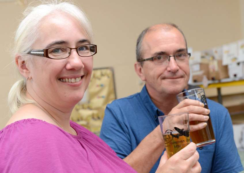 CAMRA Beer Festival, Huntingtower Community Primary Academy. Pictured are: Rebecca and Trevor Yates