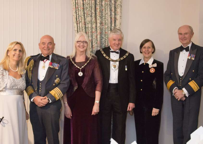 Coun Ray Wootten and his wife, Linda with Air Chief Marshal Sir Stuart Peach and Lady Peach, and Deputy Lord Lieutenant of Lincolnshire, Sarah Robinson and her husband, Paul at the SKDC Chairman's Civic Dinner EMN-160324-102103001