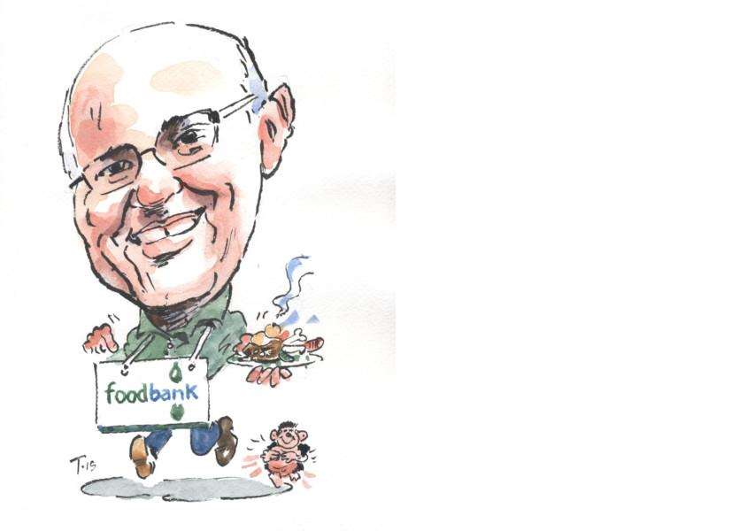 Brian Hanbury of Grantham Foodbank. Caricature by Terry Shelbourne.