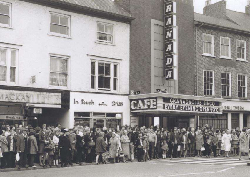 Outside the old Granada cinema in Grantham.