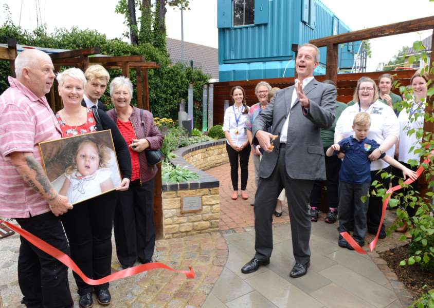Grantham MP Nick Boles opens the new sensory garden at Sandon School.