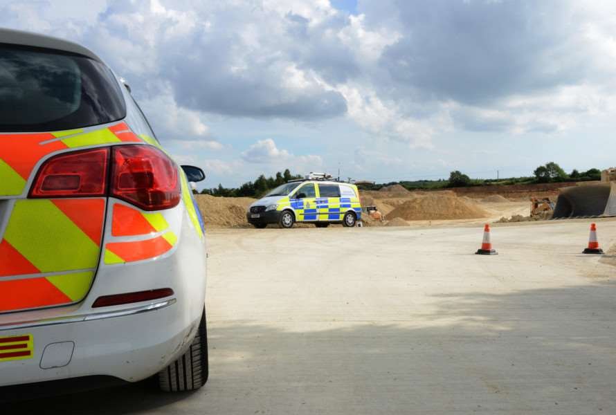 Police at Stainby Quarry.