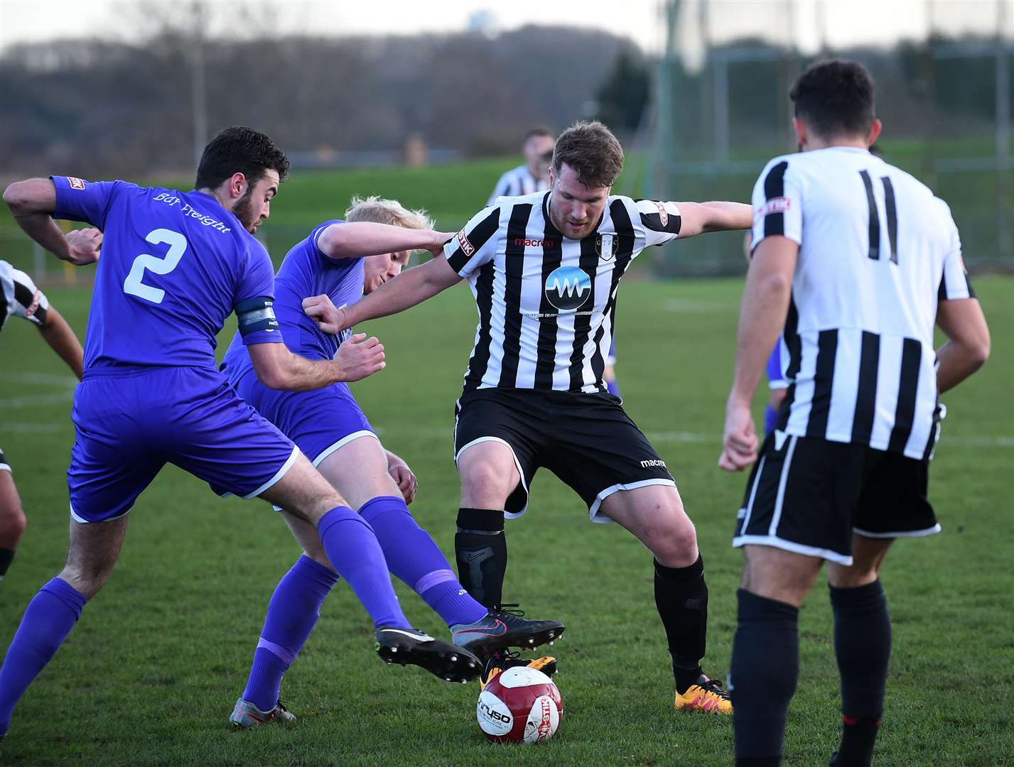 Grantham Town front man Tom Siddons comes under pressure from the Celtic defence. (6191161)
