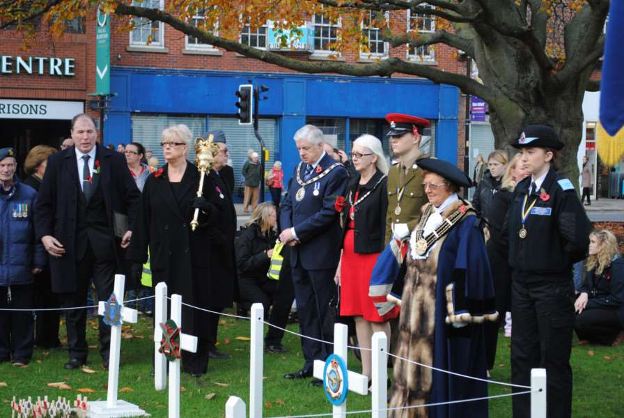 Dignitaries paid their respects at the Garden of Remembrance in St Peter's Hill.