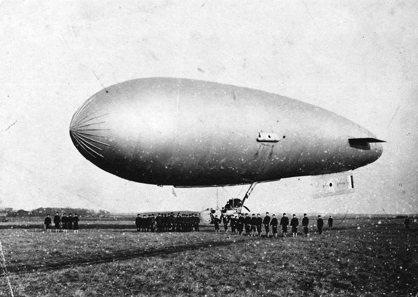 Submarine Scout airship being handled by US Naval ratings based at Cranwell's Lighter than Air Section, 1918. Supplied by Cranwell Aviation Heritage Museum Archive