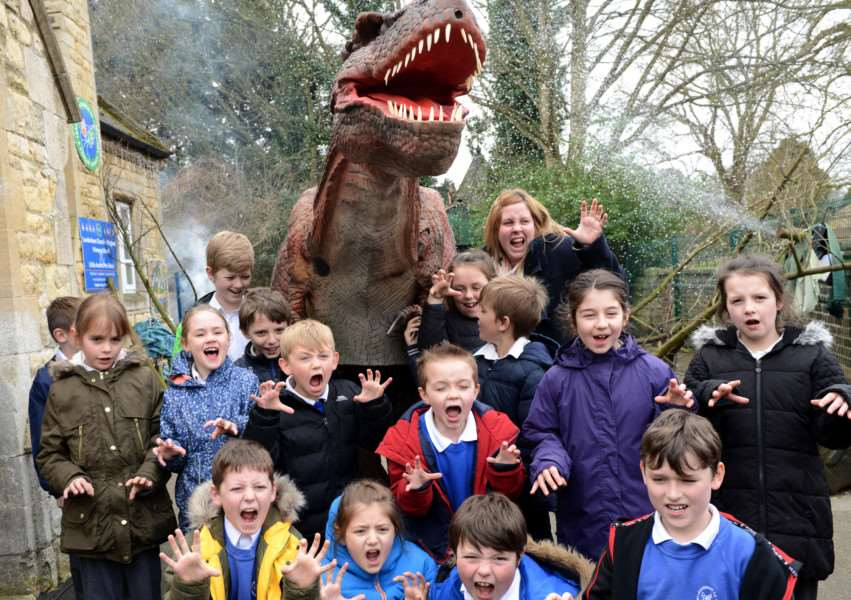 Leadenham School pupils and staff become fossil hunters with Sophie the T-Rex. EMN-160329-132641001