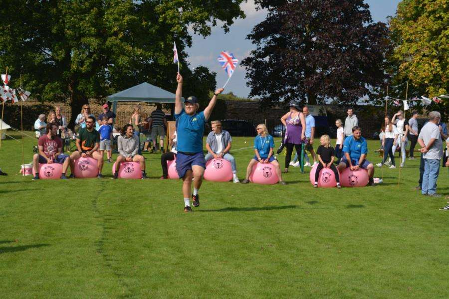 Spacehopper race at the Caythorpe Gala and Arnhem Commemoration.