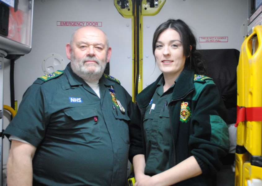 Paramedic Sharne Bailey and emergency care assistant Peter Brown.