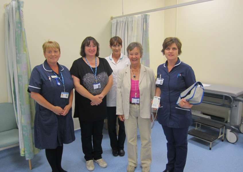 From left, interim head of nursing, Linda Keddie with members of the Grantham League of Friends and staff on the department.