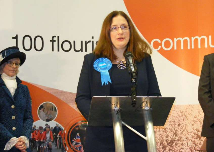 Caroline Johnson makes her acceptance speech after her win for the Tories. EMN-160912-035006001 EMN-160912-035006001