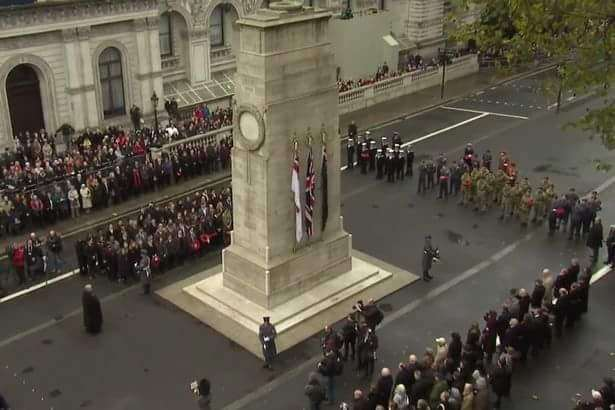 King's School cadets in London on Remembrance Sunday pictured at the far end of the Cenotaph.