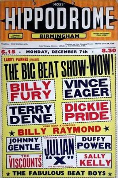 Billy Fury and Vince Eager on the bill at the Hippodrome in Birmingham.