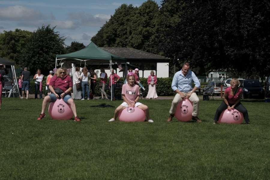 In the Pink Ribbon spacehopper race are Caroline Allen, Sue Stannard, Nick Boles and Yvonne Walker. EMN-160720-155031001