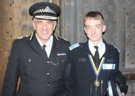 Grantham Police cadet Marcus O'Callaghan meets Chief Constable of Lincolnshire Police Neil Rhodes at Lincoln Cathedral.