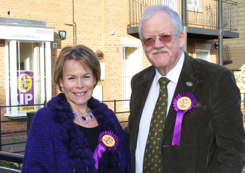 UKIP candidate in the Sleaford and North Hykeham by-election Victoria Ayling with MEP for the East Midlands Roger Helmer. EMN-161119-151648001