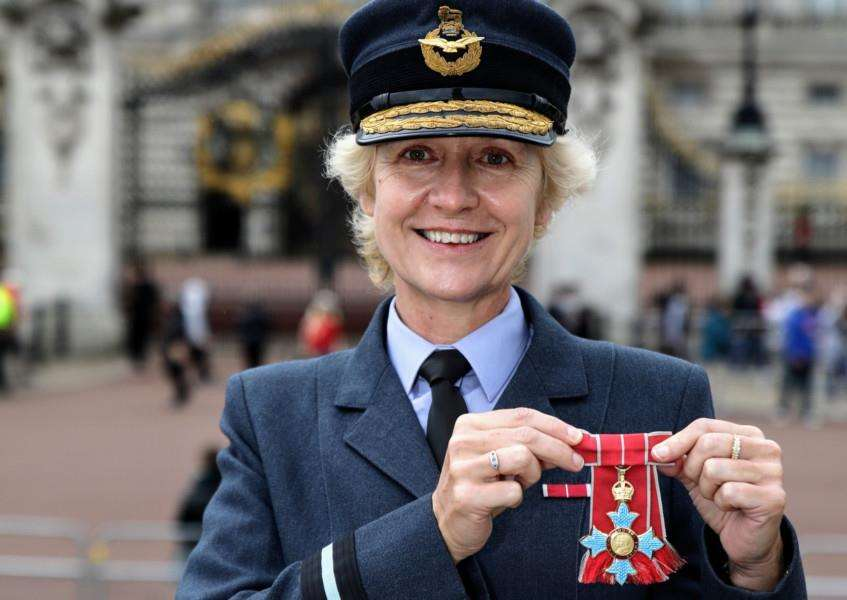 Air Commodore Dawn McCafferty, Commandant of the prestigious RAF Air Cadets based at RAF Cranwell, received her CBE medal from HRH The Duke of Cambridge.