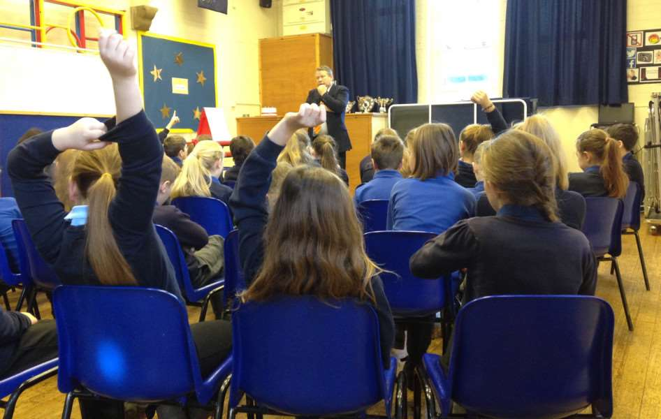 Lincoln MP Karl McCartney is questioned by pupils at Caythorpe Primary School.